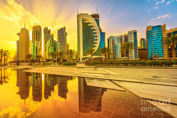 Photograph - Doha West Bay Sunset by Benny Marty
