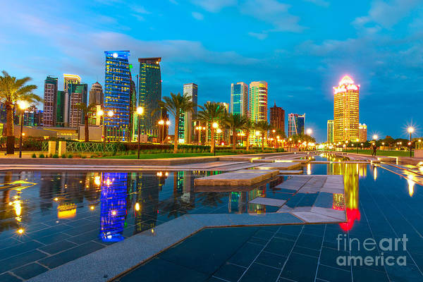 Photograph - Doha West Bay Twilight by Benny Marty