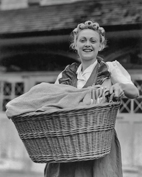 1958 Photograph - Doing The Laundry by Fpg
