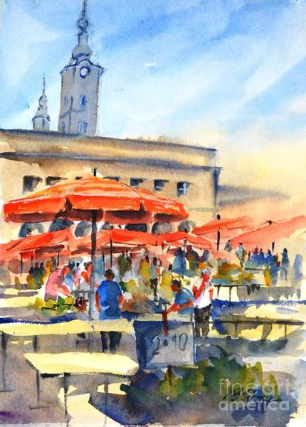 Painting - Dolce Market, Zagreb - 2 by Betty M M Wong