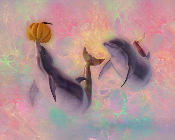Wall Art - Digital Art - Dolphin Friends Play With Pumpkins by Betsy Knapp
