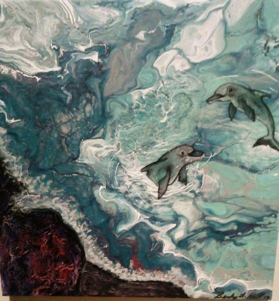 Wall Art - Painting - Dolphins At Play by Becky Hall