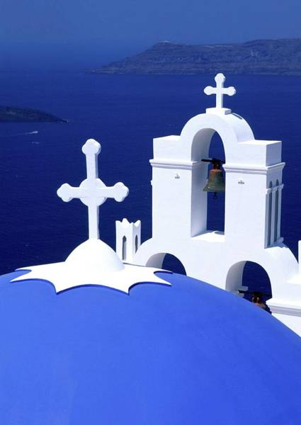 Wall Art - Photograph - Dome And Crosses Greek Church Santorini by Myloupe/uig