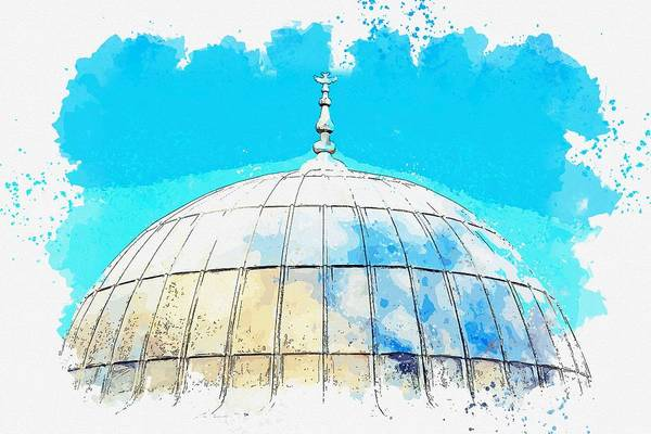 Russian Orthodox Church Painting - Dome Architecture On Istanbul Travel Islam Cami -  Watercolor By Adam Asar by Celestial Images
