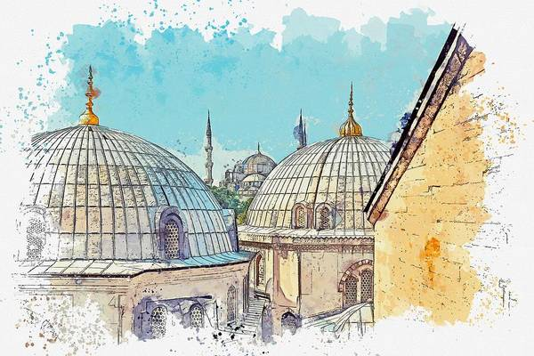 Russian Orthodox Church Painting - Dome St. Sophia, Istanbul -  Watercolor By Adam Asar by Adam Asar