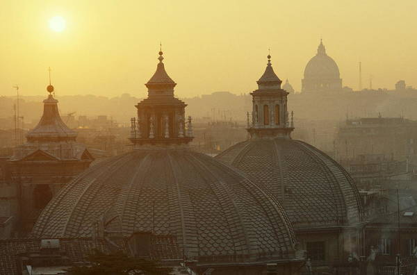 St Peters Basilica Photograph - Domes & St. Peters Basilica In Rome by Alberto Incrocci