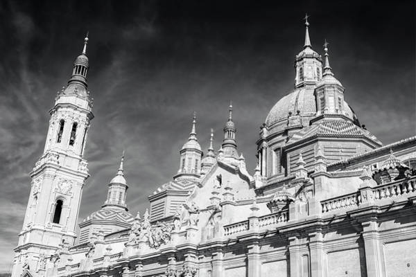 Photograph - Domes And Towers Zaragoza Spain Cathedral Bw by Joan Carroll