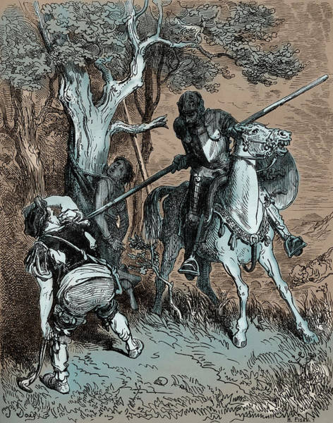 Wall Art - Painting - Don Quixote Using His Spear To Threaten The Farmer by Gustave Dore