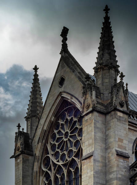 Photograph - Doncaster Minster Main Window With Gray Sky by Scott Lyons