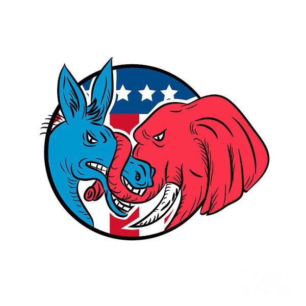 Wall Art - Digital Art - Donkey Biting Elephant Trunk American Flag Drawing by Aloysius Patrimonio