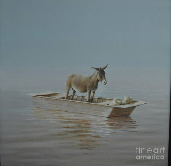 Wall Art - Painting - Donkey On The River by Lincoln Seligman