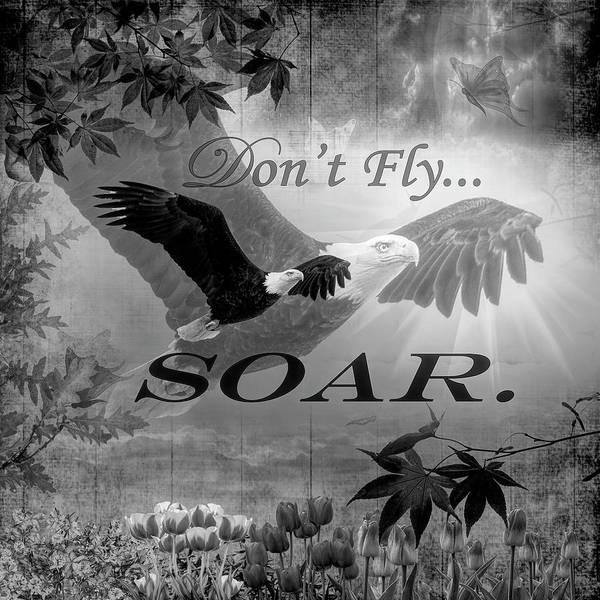 Digital Art - Don't Fly, Soar In Black And White  by Debra and Dave Vanderlaan