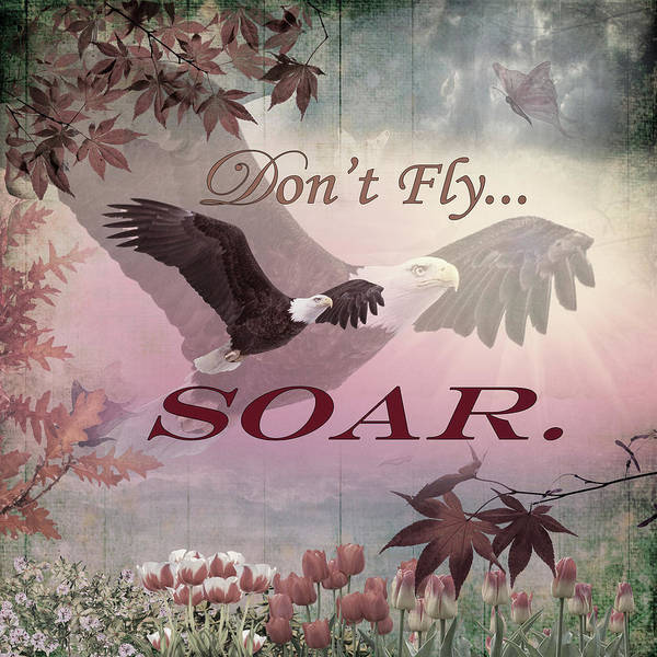 Spring Mountains Digital Art - Don't Fly, Soar Vintage Art by Debra and Dave Vanderlaan