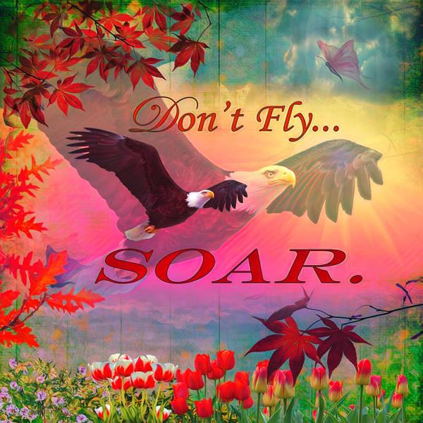 Digital Art - Don't Fly, Soar Watercolor Painting by Debra and Dave Vanderlaan