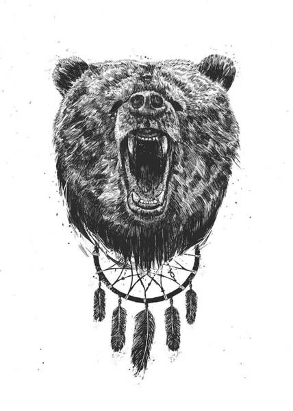 Wall Art - Drawing - Don't Wake The Bear by Balazs Solti