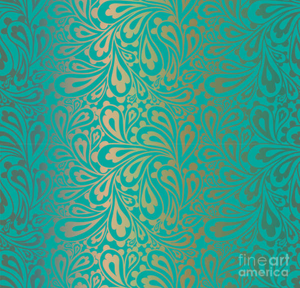 West Indian Wall Art - Digital Art - Doodle Paisley Seamless Pattern by Fears