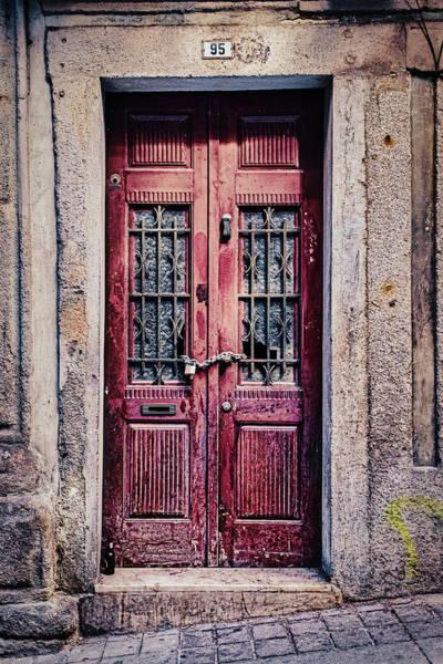 Photograph - Door Locked Through Broken Windows - Portugal by Stuart Litoff