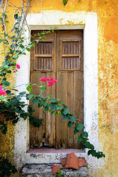 Stucco Wall Art - Photograph - Door Of An Old Abandoned Yellow by Ogphoto