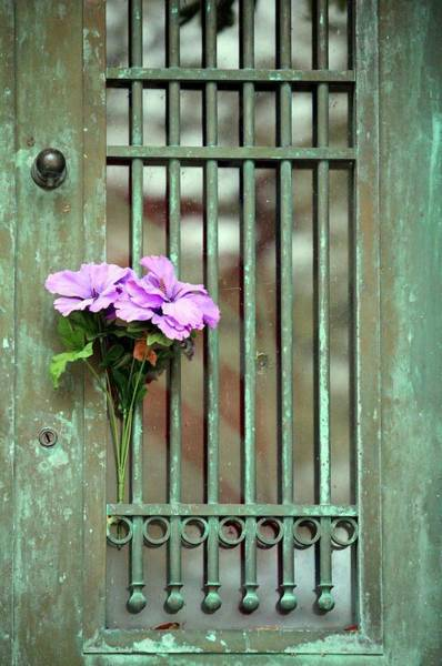 Photograph - Door With Flowers by Cynthia Guinn