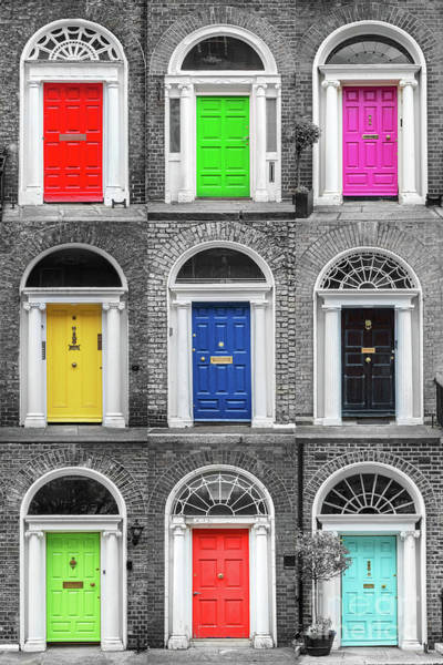 Wall Art - Photograph - Doors Of Dublin - Vertical by Delphimages Photo Creations
