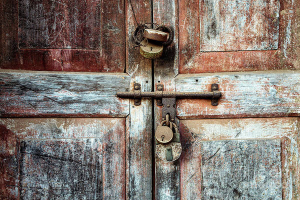 Photograph - Doors Of India - Four Lock Door by Miles Whittingham
