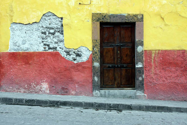 Stucco Wall Art - Photograph - Doorway Of Colorful Building In Mexico by Tankbmb