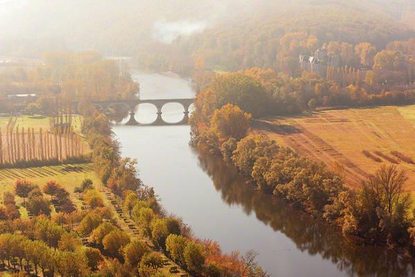 Dordogne River In The Mist Art Print
