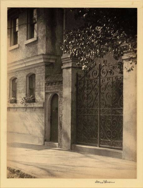 Wall Art - Painting - Doris Ulmann   1882-1934 , Brick And Stone Building With Iron Gate And Window Boxes by Doris Ulmann