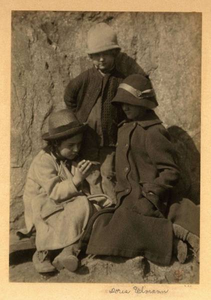 Wall Art - Painting - Doris Ulmann   1882-1934 , Children At Play Two Girls And A Boy In Winter Coats And Hats, Girls Seat by Doris Ulmann