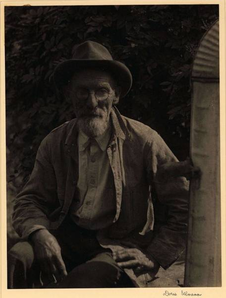 Wall Art - Painting - Doris Ulmann   1882-1934 , Elderly, Bearded Man In Hat, Glasses, And Shirt, Seated Beside Water Tank by Celestial Images