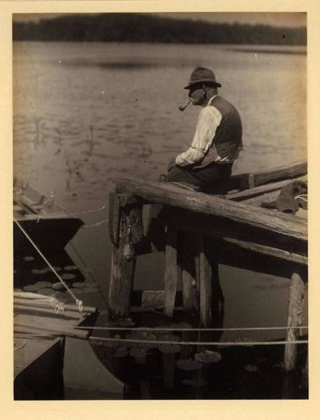 Wall Art - Painting - Doris Ulmann   1882-1934 , Elderly Man With Hat And Pipe, Seated On Dock, Fishing by Doris Ulmann