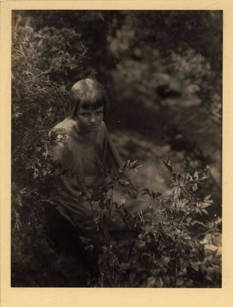 Wall Art - Painting - Doris Ulmann   1882-1934 , Girl Kneeling Behind Bushes by Doris Ulmann