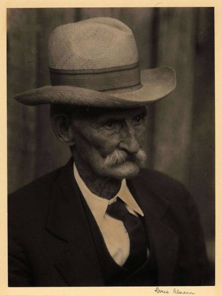Wall Art - Painting - Doris Ulmann   1882-1934  Head Shot Of Elderly Man With Mustache, In Hat, Suit, And Tie 2 by Celestial Images