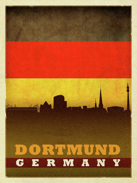 Wall Art - Mixed Media - Dortmund Germany City Skyline Flag by Design Turnpike