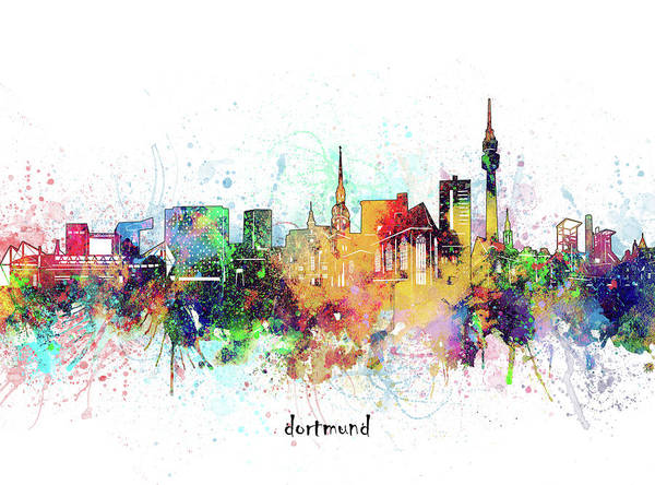 Wall Art - Digital Art - Dortmund Skyline Artistic by Bekim M