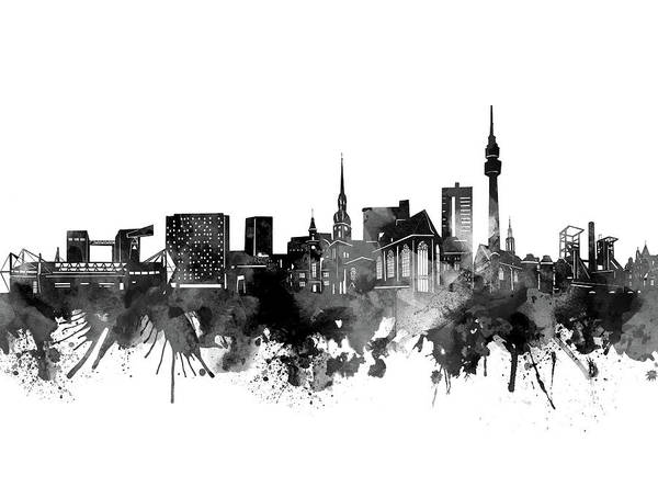 Wall Art - Digital Art - Dortmund Skyline Bw by Bekim M