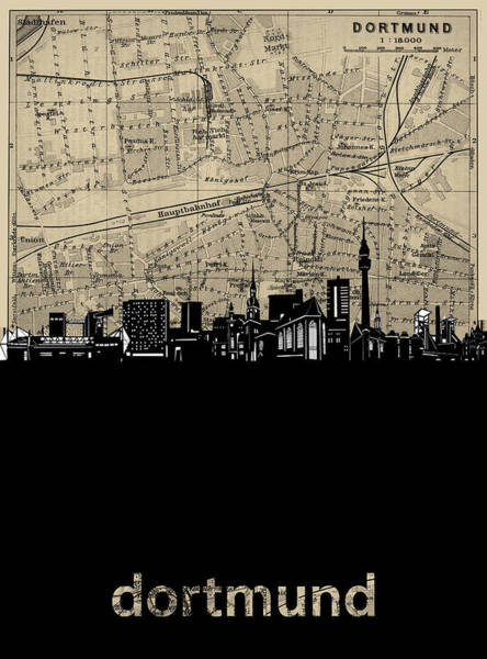 Wall Art - Digital Art - Dortmund Skyline Map by Bekim M