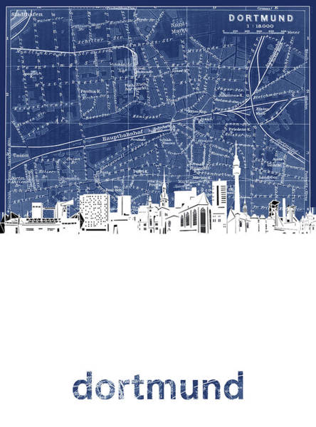 Wall Art - Digital Art - Dortmund Skyline Map Blue by Bekim M