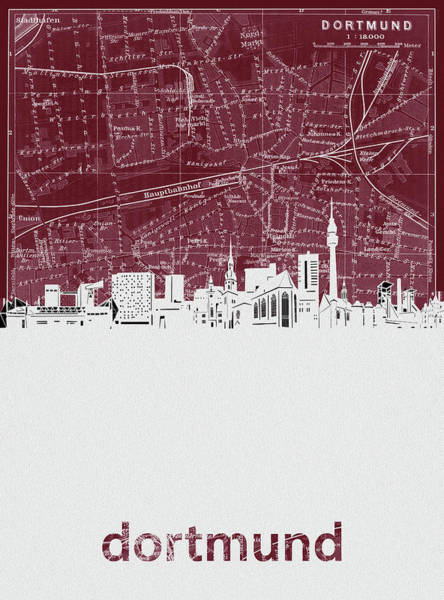 Wall Art - Digital Art - Dortmund Skyline Map Red  by Bekim M