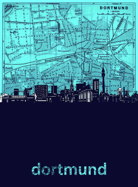 Wall Art - Digital Art - Dortmund Skyline Map Turquoise by Bekim M