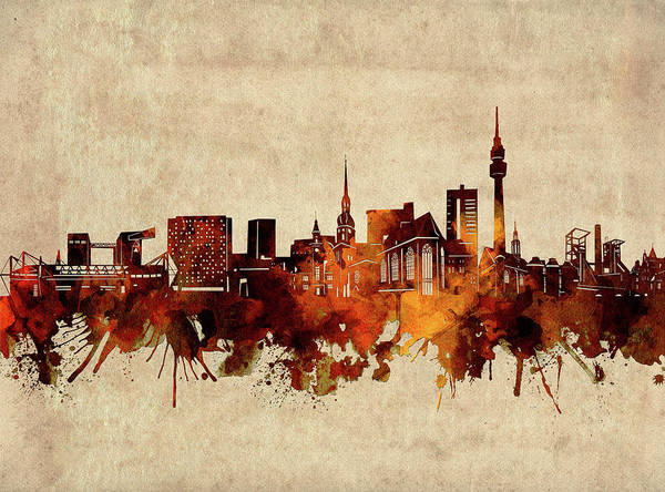 Wall Art - Digital Art - Dortmund Skyline Sepia by Bekim M