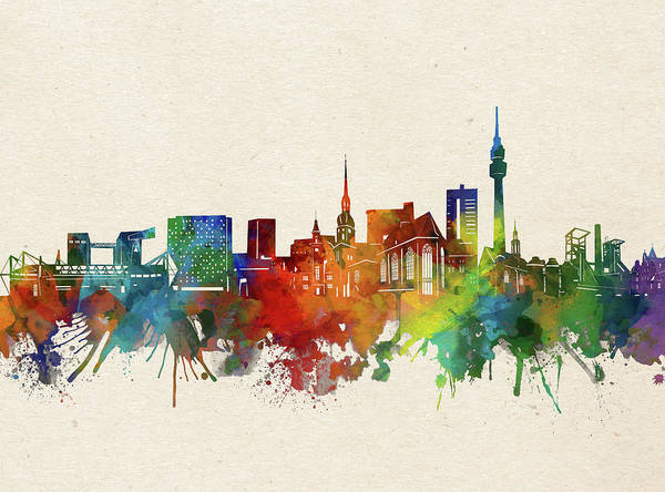 Wall Art - Digital Art - Dortmund Skyline Watercolor by Bekim M