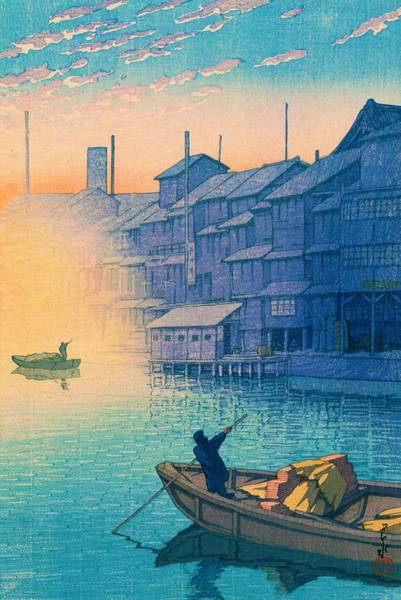 Period Wall Art - Painting - Dotonbori Morning - Top Quality Image Edition by Kawase Hasui