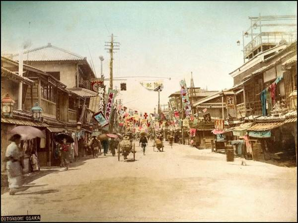 Protein Painting - Dotonbori Osaka Handcolored Japanese Albumen Print From A Tourists Album Of The Early 20th Century  by Celestial Images