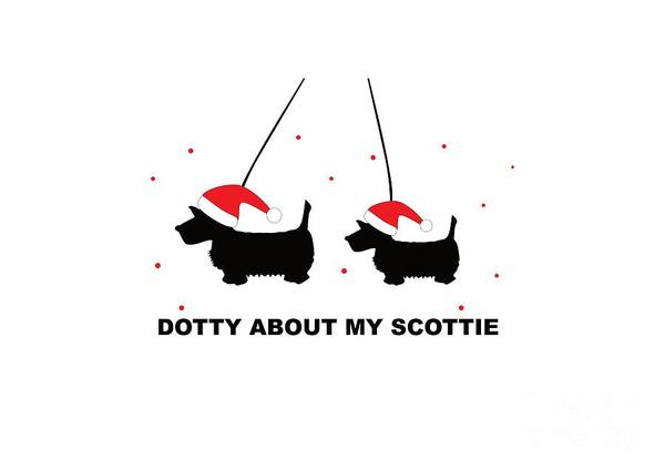 Digital Art - Dotty About My Scottie - Xmas by Barefoot Bodeez Art