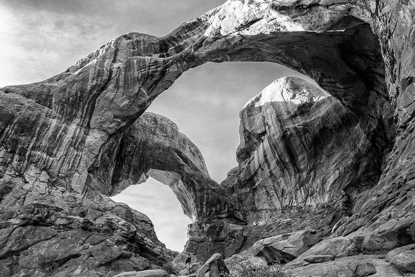 Wall Art - Photograph - Double Arch In Arches National Park Black And White Print by Stephanie McDowell