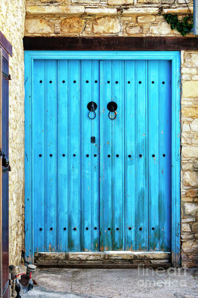 Photograph - Double Blue Door In Cyprus by John Rizzuto