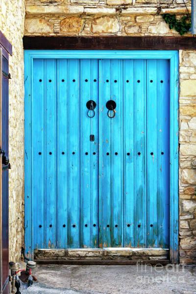 Wall Art - Photograph - Double Blue Door In Cyprus by John Rizzuto