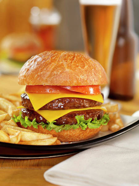 Wall Art - Photograph - Double Cheeseburger With A Beer by Lauripatterson