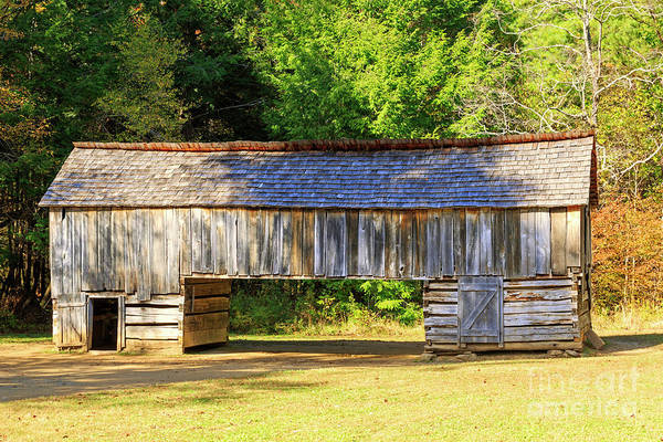 Wall Art - Photograph - Double Crib Barn In Cades Cove In Smoky Mountains National Park by Louise Heusinkveld